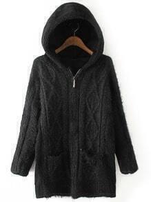 Black Hooded Diamond Patterned Pockets Sweater Coat