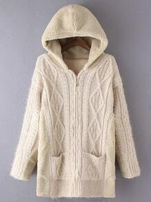 Apricot Hooded Diamond Patterned Pockets Sweater Coat