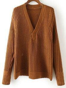 Khaki V Neck Long Sleeve Loose Sweater