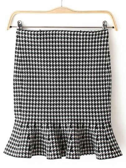 Black White Ruffle Houndstooth Skirt