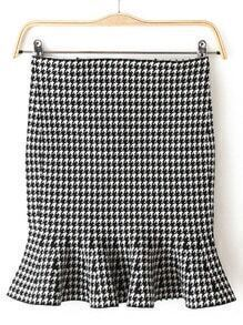 Black White Ruffle Houndstooth Skirt