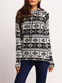 Black White Hooded Geometric Print Sweater