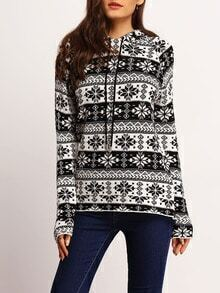 Black White Hooded Snowflake Print Sweater