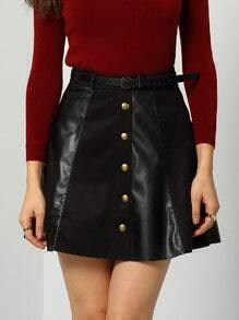 Black Buttons Flare PU Skirt