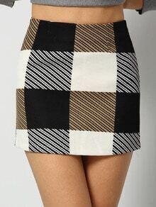Colour Plaid Striped Bodycon Skirt