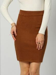 Khaki Slim Split Back Bodycon Skirt