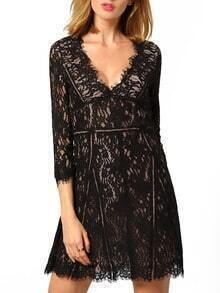 Black V Neck Sheer Lace Dress