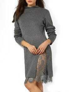 Grey Mock Neck Lace Sweater Dress