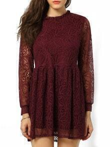 Red Frill Neck Hollow Lace Dress