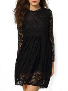 Black Round Neck Hollow Lace Dress