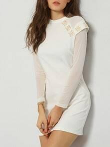 White Round Neck Rhinestone Bodycon Dress