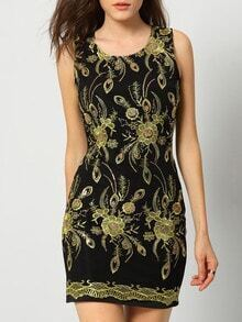 Black Sleeveless Embroidered Slim Bodycon Dress