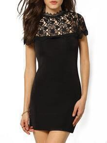 Black Short Sleeve Hollow Lace Bodycon Dress