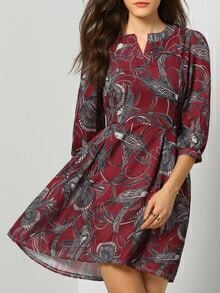 Red V Neck Birds Print Tie-Waist Dress