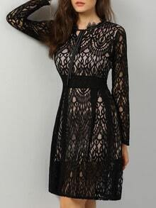 Black Tie-neck Sheer Mesh Lace Dress