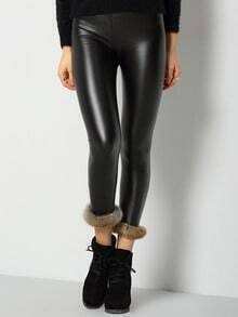 Black Skinny Faux Fur Embellished PU Leggings