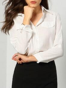 White Lapel Long Sleeve Pockets Blouse
