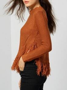 Khaki Round Neck Tassel Hollow Knitwear