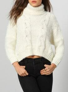 White High Neck Cable Knit Crop Sweater