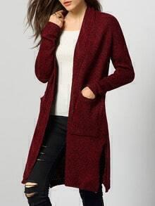 Red Long Sleeve Pockets Split Sweater Coat