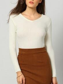 White V Neck Long Sleeve Slim Knitwear
