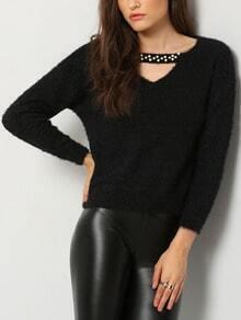 Black Long Sleeve Bead Hollow Sweater