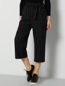 Black Tie-Waist Vertical Stripe Pant