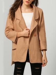Khaki Lapel Double Breasted Woolen Coat