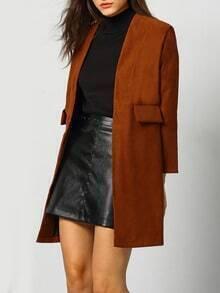 Khaki Long Sleeve Corduroy Loose Coat