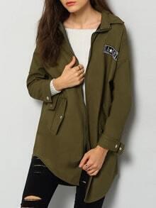 Army Green Lapel Zipper Loose Coat