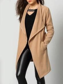 Khaki Long Sleeve Pockets Woolen Coat