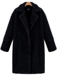 Black Lapel Long Sleeve Loose Coat