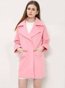 Pink Lpael Pockets Single Button Woolen Coat