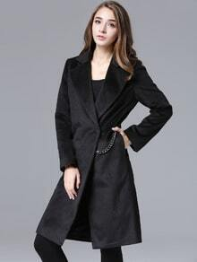 Black Lapel Chain Embellished Woolen Coat