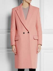 Pink Lapel Long Sleeve Double Breasted Woolen Coat