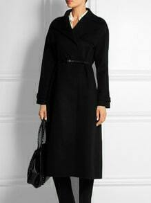 Black Lapel Long Sleeve Belt Woolen Coat