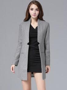 Grey Stand Collar Notch Woolen Coat