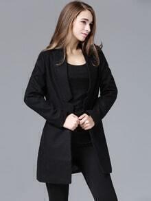 Black Stand Collar Notch Woolen Coat