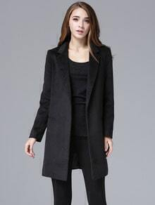Black Notch Lapel Long Sleeve Slim Woolen Coat