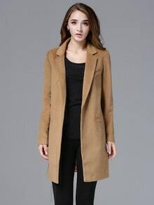 Camel Notch Lapel Long Sleeve Slim Woolen Coat