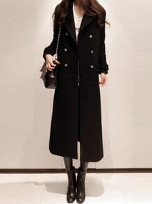 Black Long Sleeve Double Breasted Woolen Coat