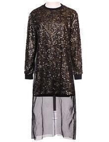 Gold Sequin Front Dip Hem Dress