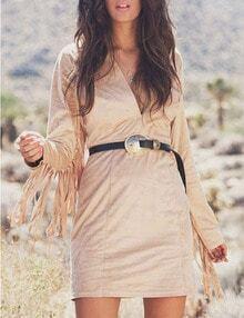 Khaki V Neck Fringe Sleeve Bodycon Dress