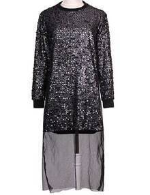 Silver Sequin Front Dip Hem Dress