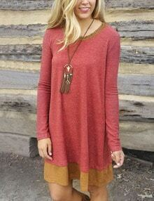 Red Tshirt Dress With Contrast Neck And Hem
