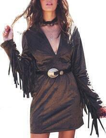 Coffee V Neck Fringe Sleeve Bodycon Dress