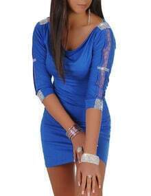 Blue Rhinestone Embellished Lace Insert Bodycon Dress