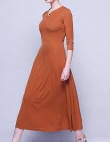 Camel Buttoned V Neck Maxi Dress