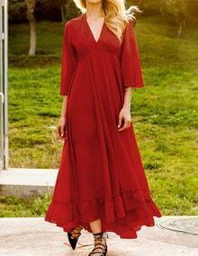 Burgundy V Neck Bell Sleeve Belted Maxi Dress