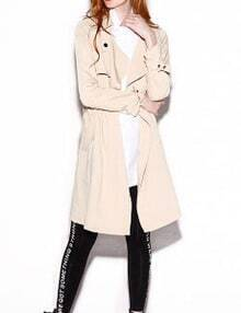 Beige Oversized Lapel Button Trench Coat